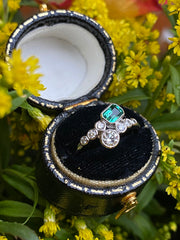 Edwardian Emerald and Diamond Platinum Ring 0.50ct + 0.45ct Emerald