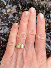 Art Deco Yellow Sapphire and Diamond Platinum Ring 0.35ct + 1.60ct