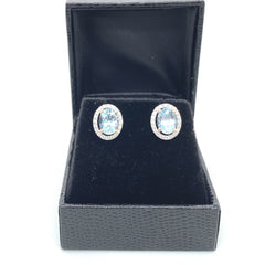 Aquamarine and Diamond Cluster Earrings 0.36ct + 2.50ct