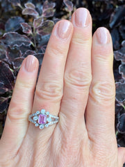 Edwardian Pink Sapphire and Diamond Platinum Ring 0.75ct + 0.60ct