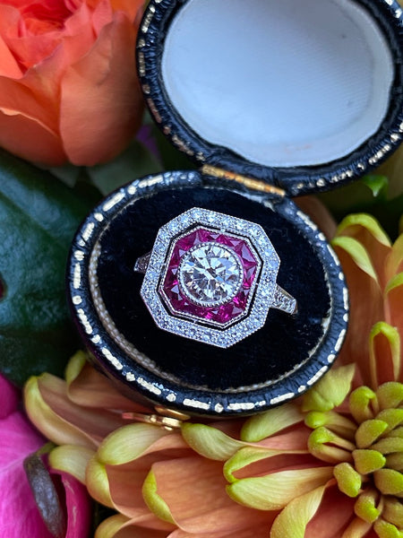 Art Deco Ruby & Diamond White Gold Ring 1.12ct + 0.20ct Ruby