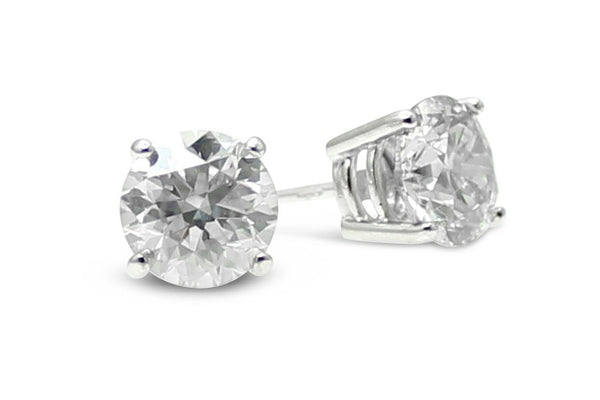0.42ct Diamond Stud Earrings 4 Claw 18ct White Gold