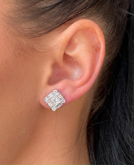 Art Deco Diamond Cluster Stud Earrings 1.80ct 18ct White Gold