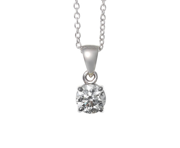 18ct White Gold Diamond Solitaire 4 Claw Set Pendant 0.37ct