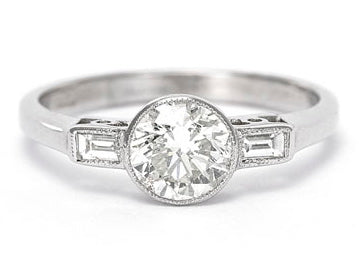 Art Deco Diamond Solitaire Ring 1.01ct + 0.12 ct Platinum