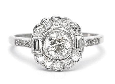 Pretty Diamond Daisy Cluster Ring 0.90ct Platinum