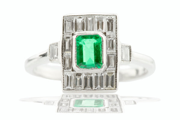 Art Deco Emerald and Diamond Ring 1ct Platinum