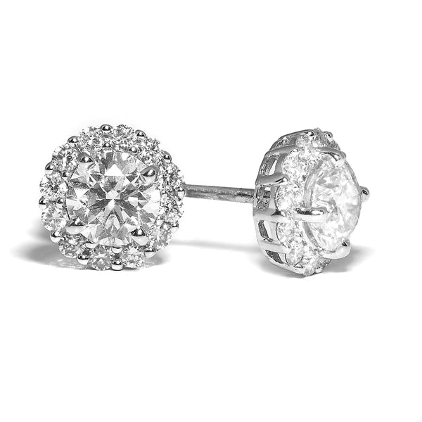 Diamond Cluster Stud Earrings 18ct white gold 0.54ct