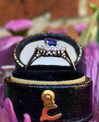 Art Deco Sapphire and Diamond Platinum Ring 0.45ct + 1.24ct