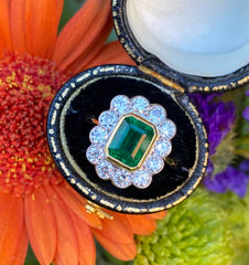 Victorian Emerald and Diamond 18ct Yellow Gold 1.10ct + 1.75ct Emerald