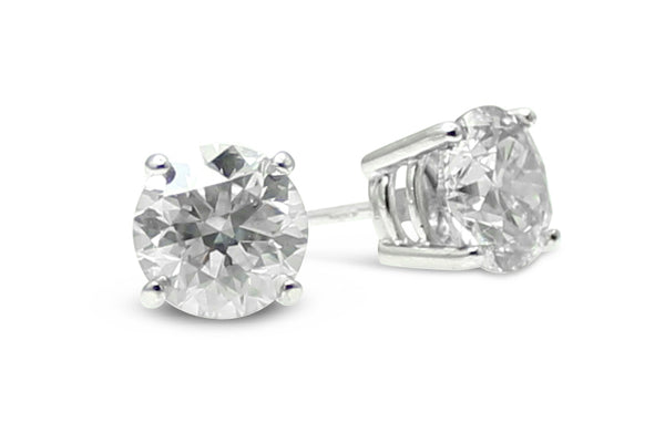 1.42ct Diamond Stud Earrings 4 Claw 18ct White Gold