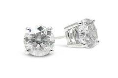 2.02ct Diamond Stud Earrings 4 Claw 18ct White Gold
