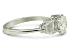Art Deco Diamond Solitaire Ring 1.01 ct + 0.30 ct Platinum