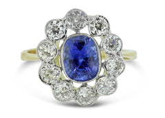 Sapphire and Diamond Cluster Ring 18ct WG