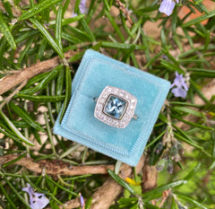 Deco Aquamarine & Diamond Platinum Ring 0.70ct diamonds + 1.50ct Aquamarine