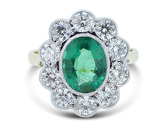 Emerald and Diamond Cluster Ring 1.20 + 2ct 18ct Gold
