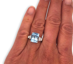 Aquamarine and Diamond 0.30ct + 5.10ct Platinum Ring