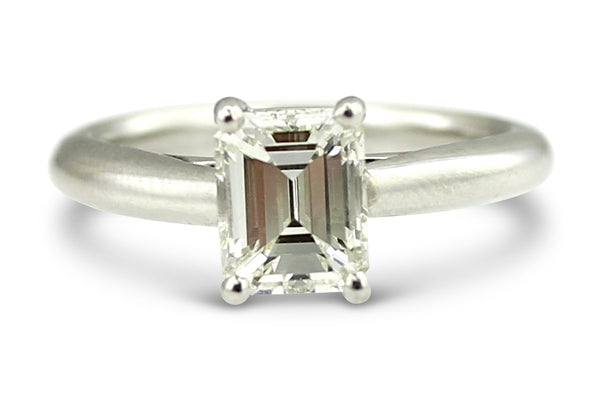 Emerald Cut Diamond Solitaire Ring 1.11ct Platinum