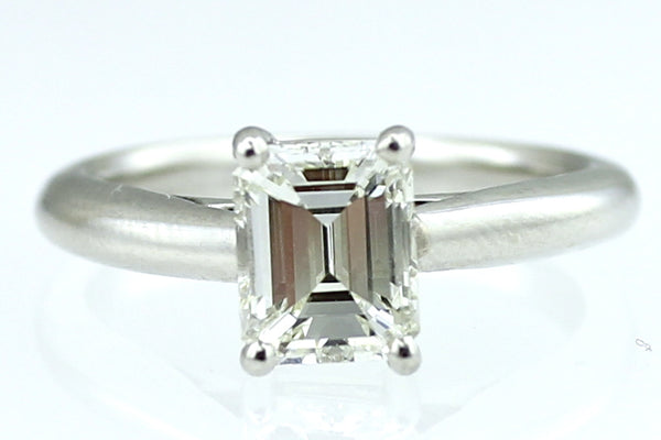 Emerald Cut 1.13ct Diamond Solitaire Platinum Ring