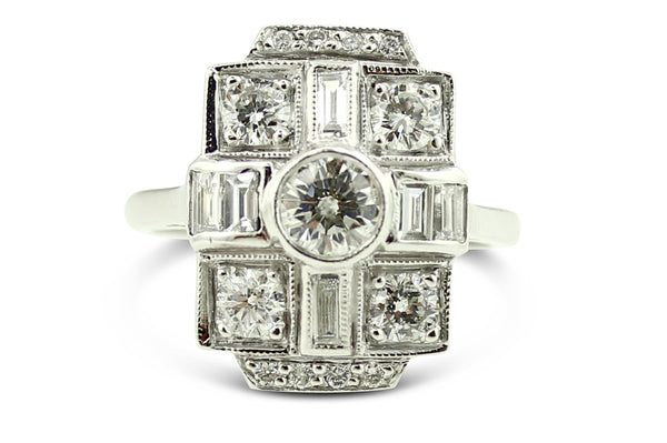 Art Deco Diamond Ring 2ct Platinum