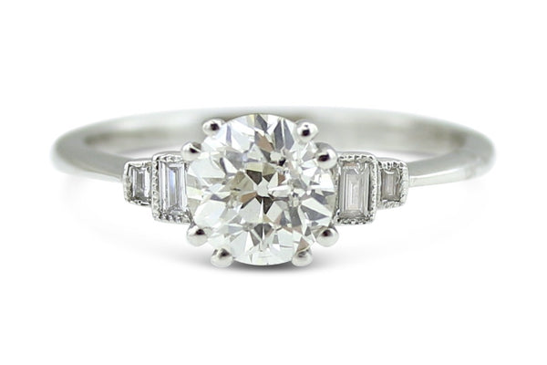 Original Art Deco Diamond Solitaire Ring 1.33 ct Platinum