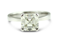 Asscher Cut Diamond Solitaire Ring 2ct Platinum