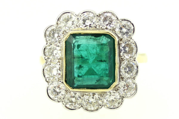 Superb Emerald and Diamond Cluster Ring 18CT Yellow Gold