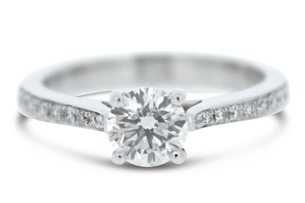 Brilliant Cut Diamond Solitaire Engagement Ring 18ct White Gold 0.72ct