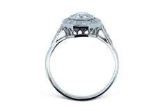 Art Deco Diamond Solitaire Engagement Ring 1.12ct 18ct White Gold