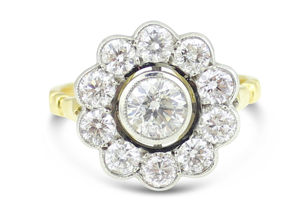 Victorian Diamond Cluster Ring 1.80ct 18ct Yellow Gold