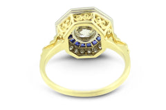 Art Deco Sapphire and Diamond Solitaire Ring 18ct Yellow Gold 1.18ct + 0.25ct