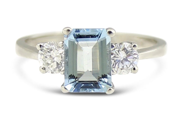 Aquamarine and Diamond Three Stone Ring 0.50ct + 2.78ct Platinum
