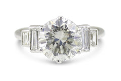 Art Deco Diamond Solitaire Ring 2.80ct 18ct White Gold