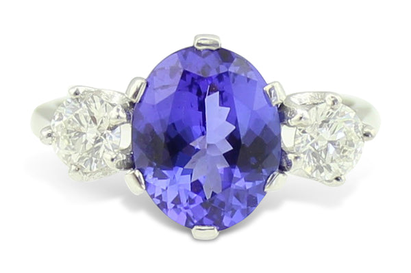 Tanzanite and Diamond Three Stone Ring 0.60ct + 3 ct 18CT White Gold