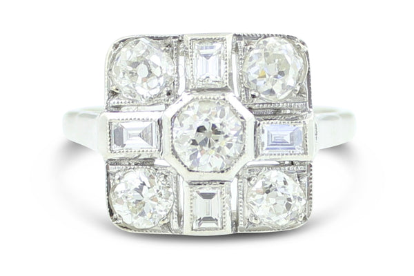 Vintage Old Cut Diamond Cluster Ring 1.75ct Platinum