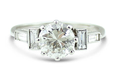 Art Deco Diamond Solitaire Ring 1.01ct Platinum