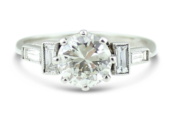 Art Deco Diamond Solitaire Ring 1.15ct Platinum