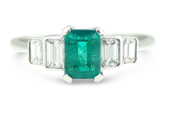 Five Stone Emerald and Diamond Ring Emerald Cut 1.0ct + 1.10ct Platinum