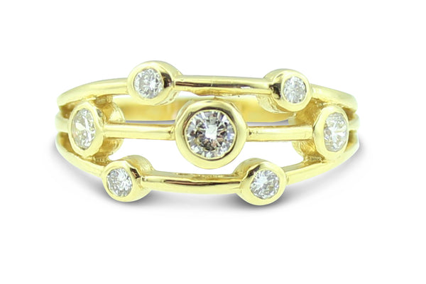 Contemporary Diamond Ring 0.75ct 18ct Yellow Gold