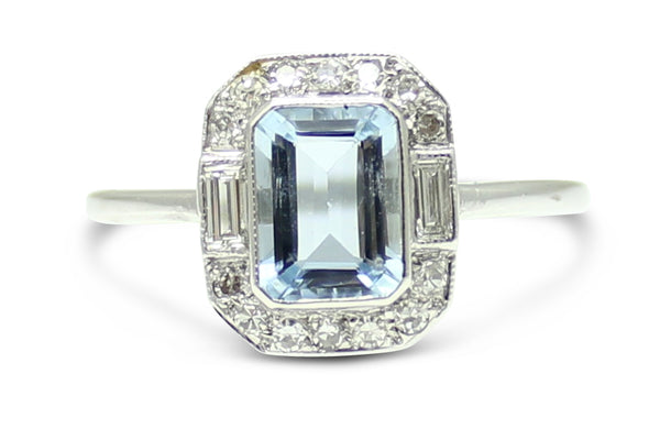 Art Deco Aquamarine and Diamond Ring 18ct White Gold 0.20ct + 1.0ct
