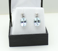 Aquamarine and Diamond Drop Earrings 18ct White Gold 0.50ct + 4.50ct