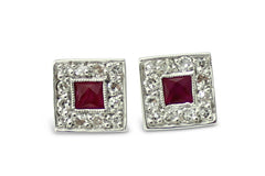 Ruby and Diamond Square Art Deco Style Stud Cluster Earrings 0.30ct 18ct white gold