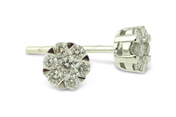 Diamond Cluster Stud Earrings 18ct white gold 0.35ct