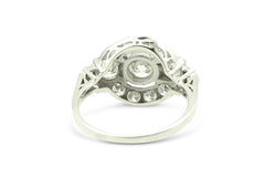 Art Deco Diamond Cluster Ring 1.95ct 18 Carat White Gold
