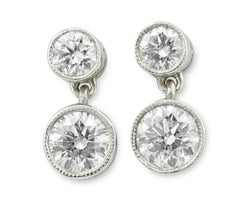 Brilliant Cut Diamond Drop Stud Earrings 18ct white gold 1.25ct