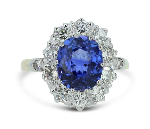 Victorian Style 2.56ct Sapphire and 1.30ct Diamond Cluster Ring 18Carat Yellow Gold