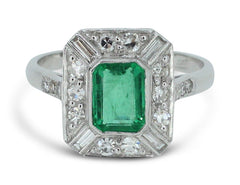 Art Deco Emerald and Diamond Ring 1.10ct + 0.55ct 18CT White Gold
