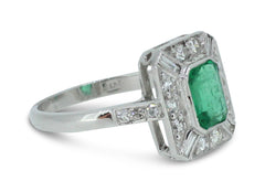 Art Deco Emerald and Diamond Ring 1.10ct + 0.65ct Platinum