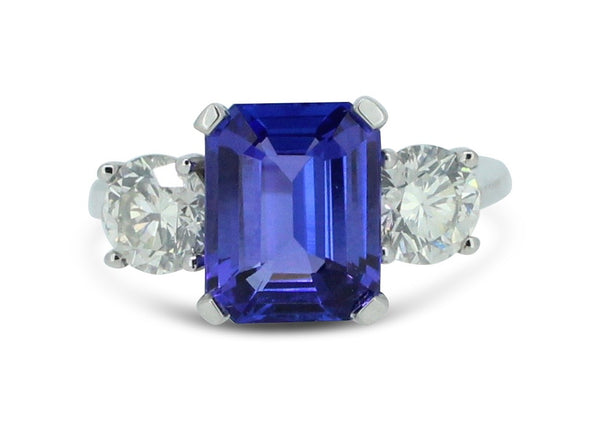 Tanzanite and Diamond Three Stone Ring 1.10ct + 3.01ct Tanzanite 18ct White Gold