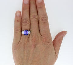 Tanzanite and Diamond Three Stone Ring 1.10ct + 3.01ct Tanzanite Platinum